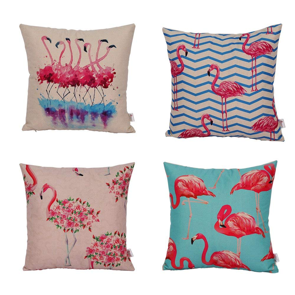 Pink Flamingo Theme Throw Pillow Case Set