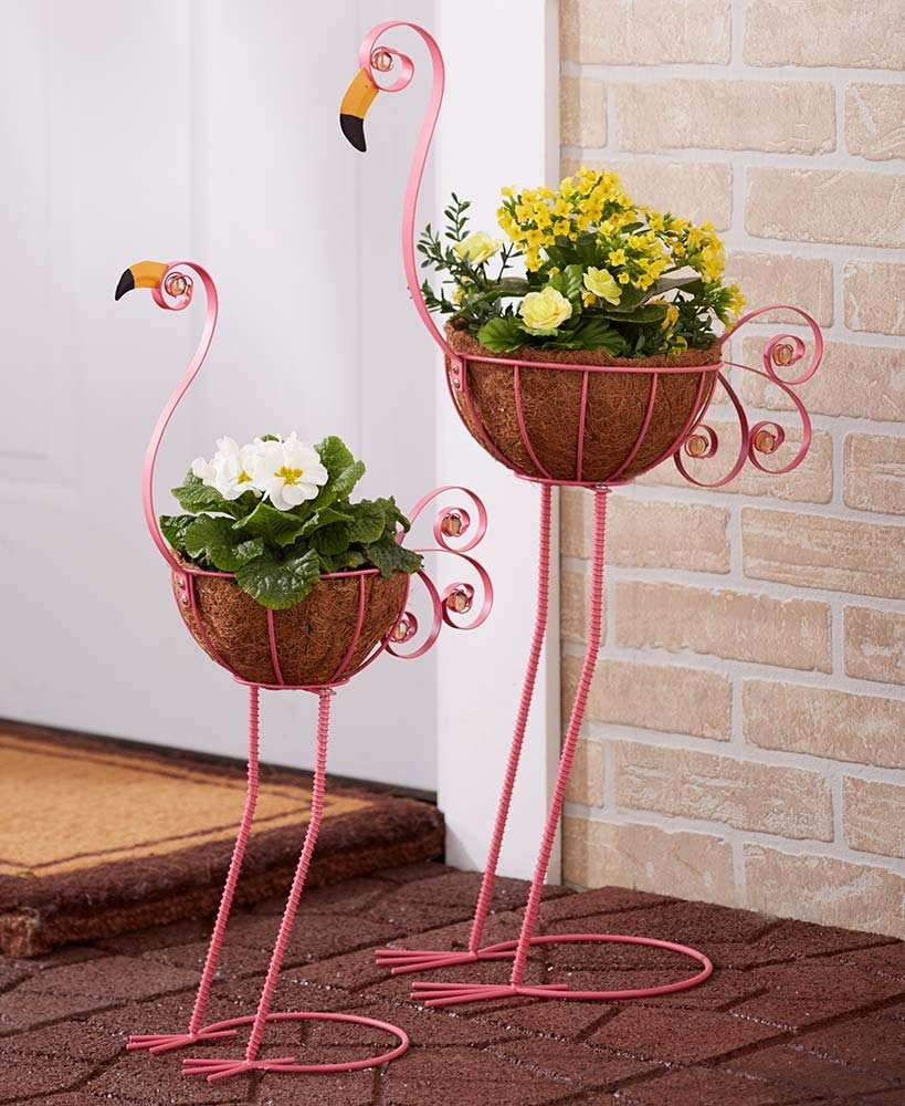 The Lakeside Collection Flamingo Bird Planters