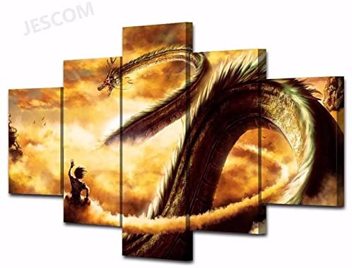 JESC Wall Art 5 Pieces Goku Dragon Ball Paintings Super Saiyan for Living Room Home Decor Print