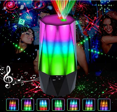 LED Laser Projector, CrazyFire 3 in 1 Disco lights Projector with Bluetooth Speaker, 16 Laser Lights Patterns Strobe Party lights with TF Card for Party Wedding Birthday Christmas Pub Show