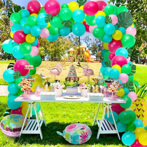 an island-themed party set up